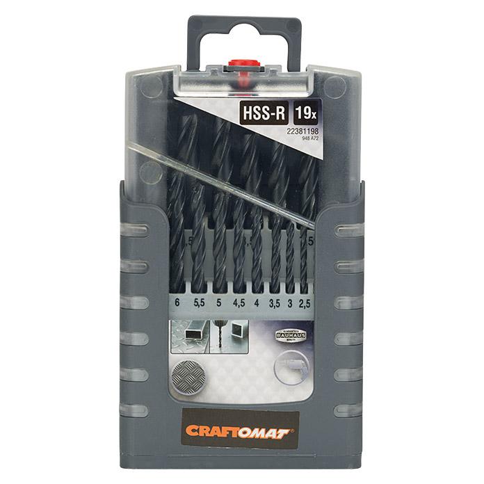 Craftomat Bohrer HSS-R Kassette Gripbox 19-tlg.