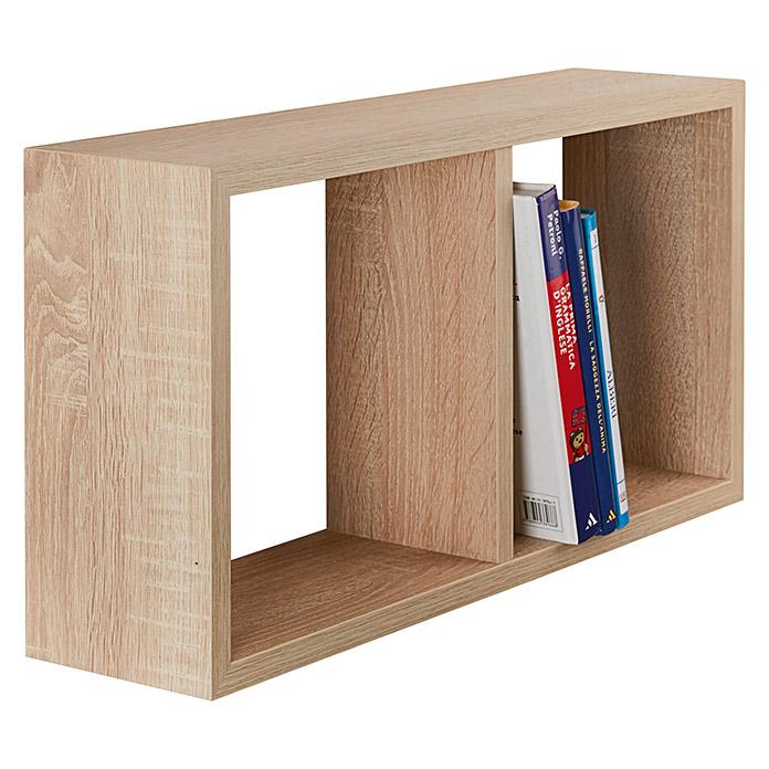Étagère décorative Cube Yasmine chêne brut de sciage