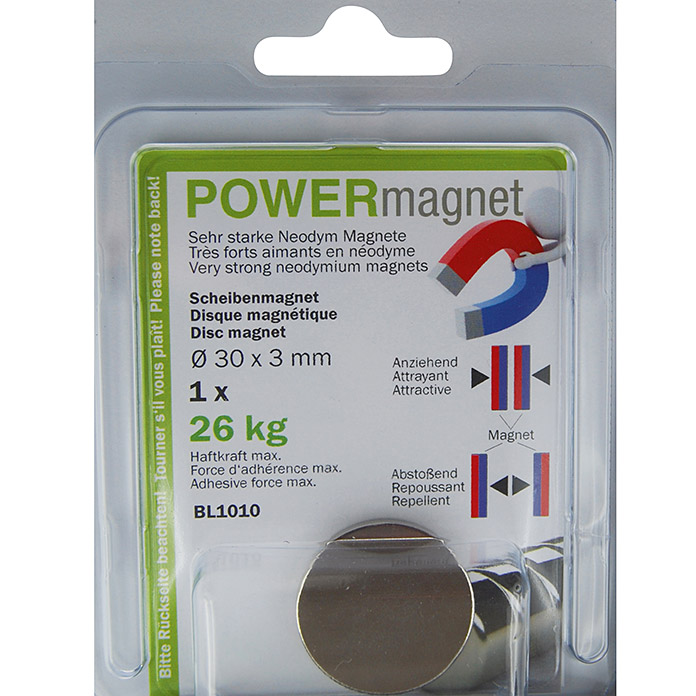 Aimant POWER forme cylindrique 30x3 mm