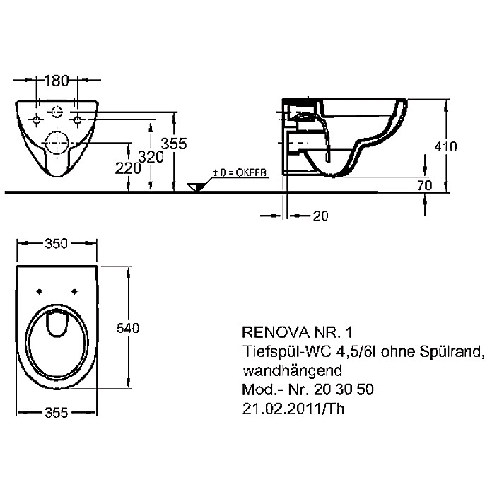GEBERIT Spülrandloses Wand-WC Set Renova  Nr. 1