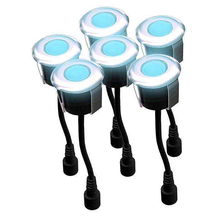 Easy Connect® LED Einbauspot rund Holz Blau