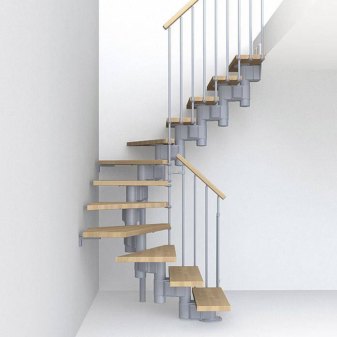 Fontanot Arké escalier avec longeron central compact 89 Gris/Hêtre