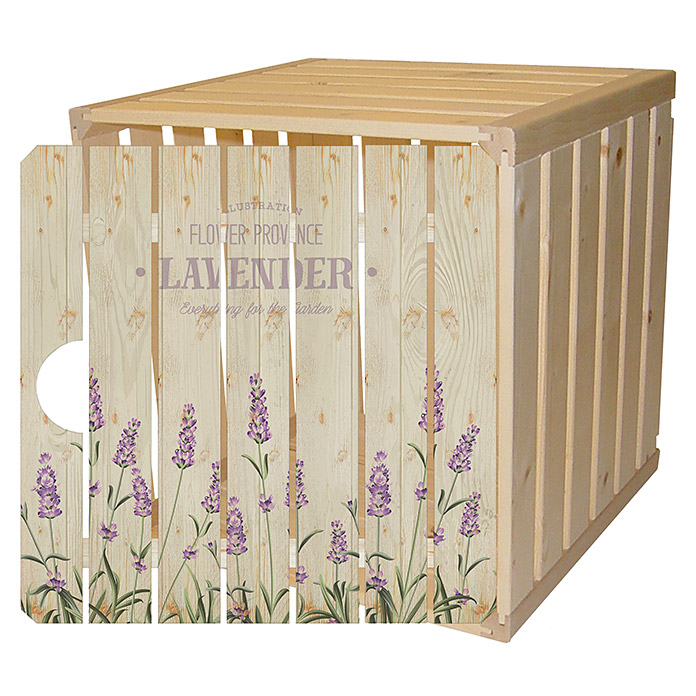 Holzharasse mit bedruckter Harassentür Lavender