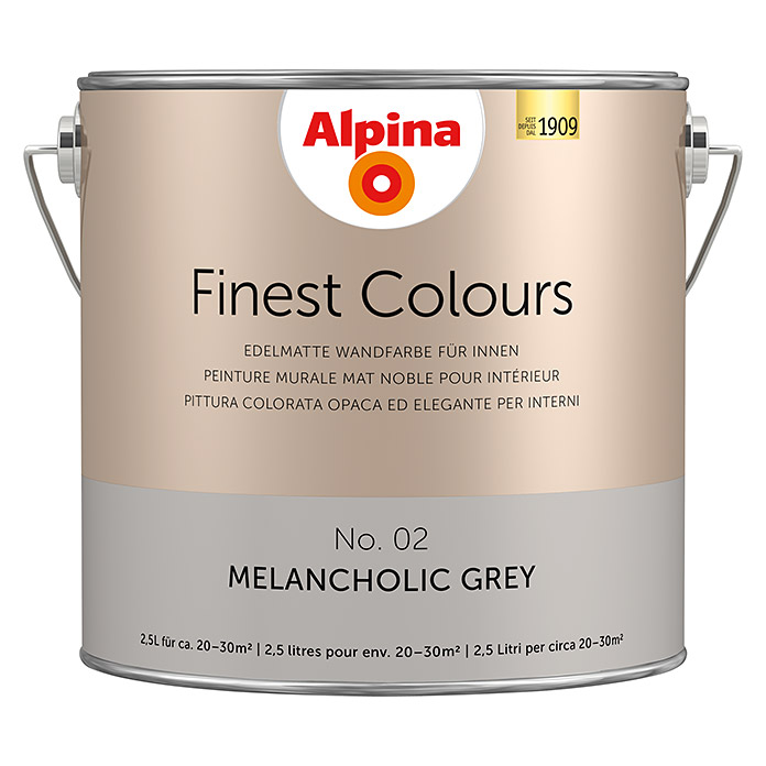 Alpina Finest Colours Wandfarbe Melancholic Grey Bei