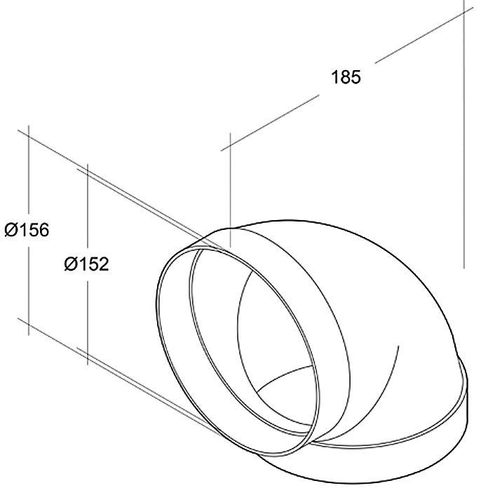 Air-Circle Coude pour tube rond Ø 150mm 90°