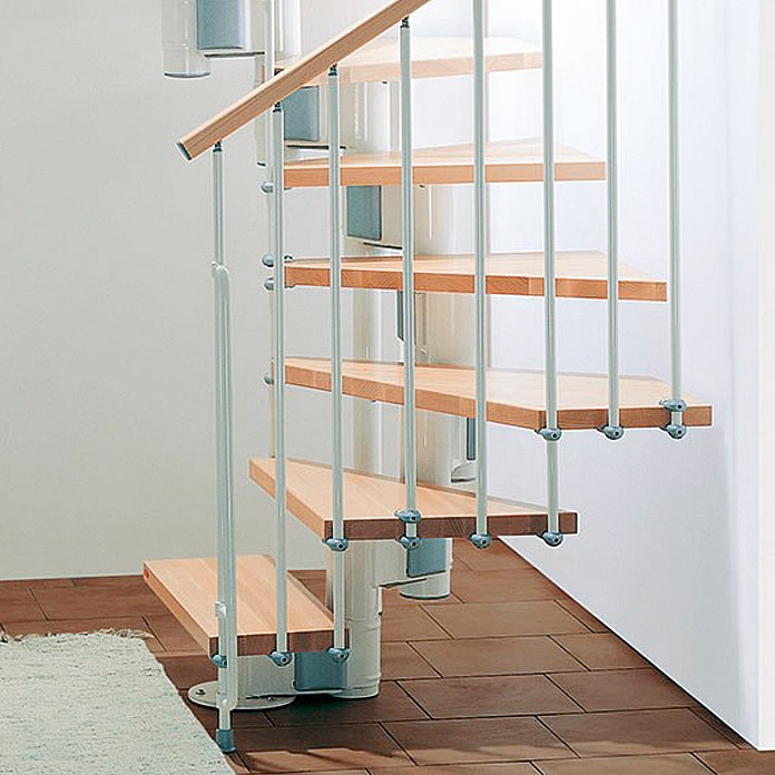 Fontanot Arké escalier avec longeron central compact 89 Blanc/Hêtre