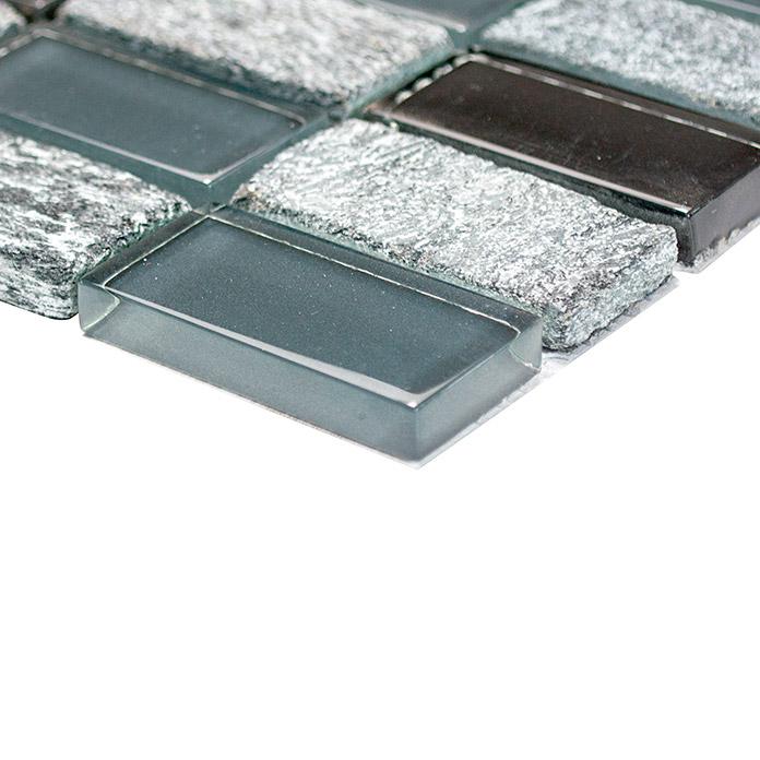 Glasmosaik mit Naturstein Schwarz/Grau