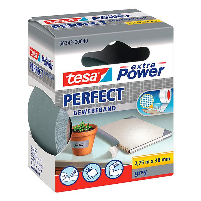 tesa extra Power Ruban adhésif en tissu PERFECT gris