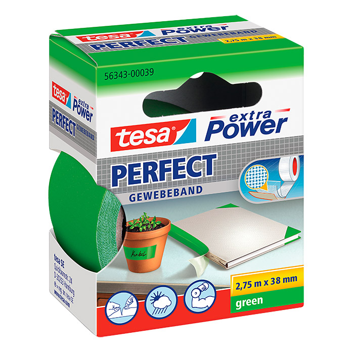 tesa extra Power Ruban adhésif en tissu PERFECT vert