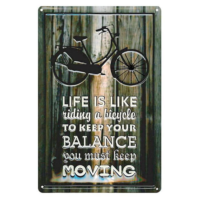 Panneau publicitaire en métal LIFE IS RIDING A BICYCLE