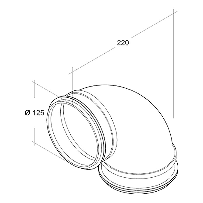 Air-Circle Coude de tuyau à agrafage enroulé 90° Ø 125 mm